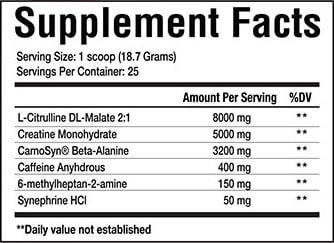 Merica Labz Red White & Boom Pre Workout Supplement Facts