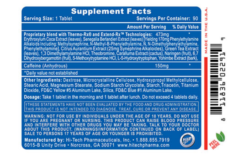 Lipodrene from Hi-Tech Pharmaceuticals supplement facts