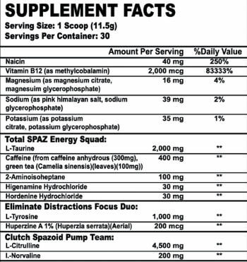 Tim Muriello's SPAZMATIC supplement facts