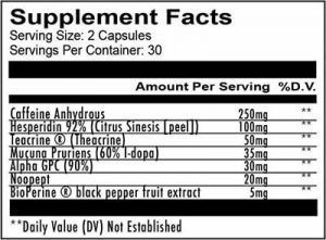 Redcon1 Mental Trigger Supplement Facts