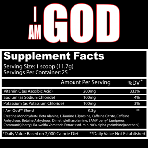 Insane Labz - I AM GOD supplement facts