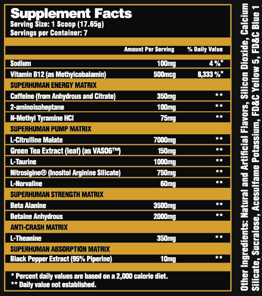 Alpha Lion SuperHuman Pre-Workout Label