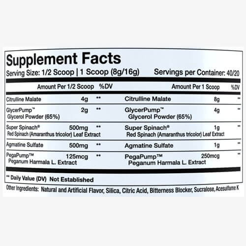 Supplement label of InnovaPharm Nova Pump
